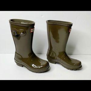 Hunter Olive Green Tall Boots Boy 13 Girl 1